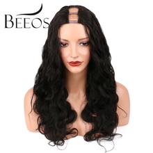 BEEOS 150 Density Body Wave 1×4 U Part Human Hair Wigs Middle Part For Black Women Natural Black Brazilian Remy Hair Wigs