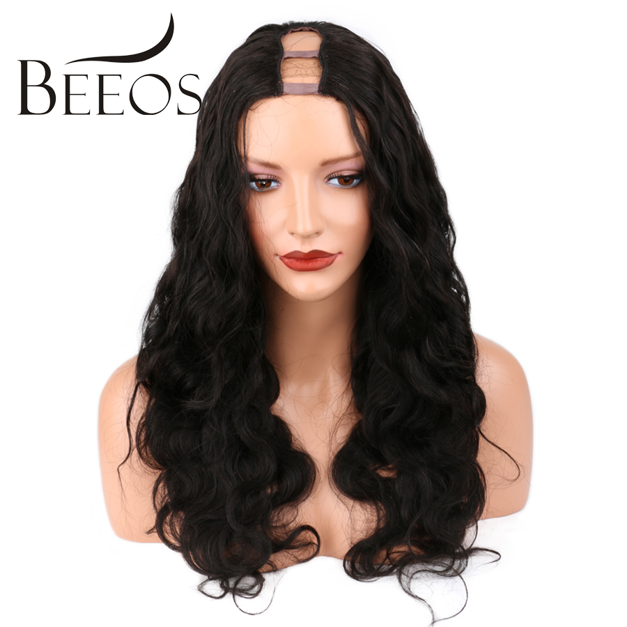 BEEOS 150 Density Body Wave 1x4 U Part Human Hair Wigs Middle Part For Black Women Natural Black Brazilian Remy Hair Wigs
