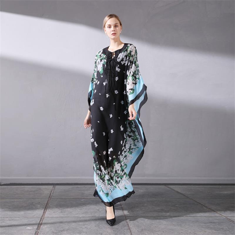 Femmes Maxi robe 2018 haute qualité automne Designer piste o-cou chauve-souris aile manches imprimé élégant décontracté longues robes NPD0896