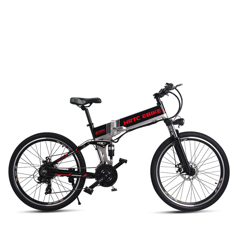 Spor ve Eğlence'ten Elektrikli Bisiklet'de 26 inç elektrikli dağ bisikleti 500W yüksek hız 40 km/h katlama elektrikli bisiklet 48v lityum pil gizli çerçeve EMTB off road ebike title=