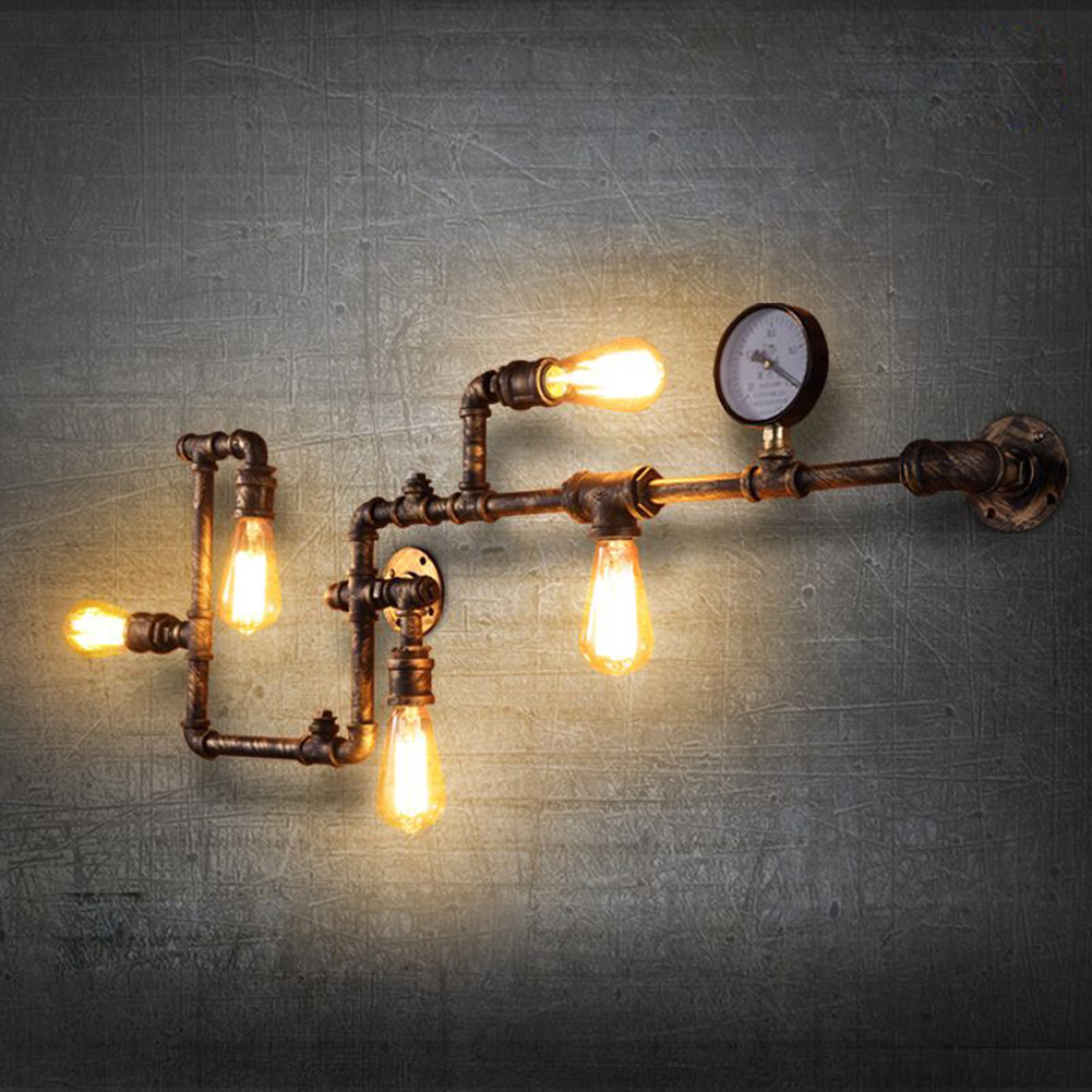 Industrial Pipe Wall Light: Steam Punk Loft Industrial Rust Water Iron Pipe Retro Wall
