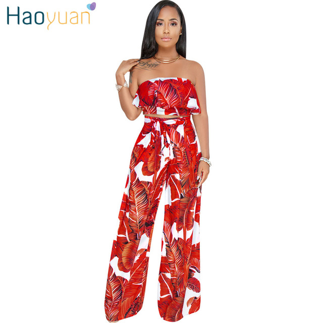 Haoyuan Sexy Two Piece Set Women Off Shoulder Ruffle Crop Tops And Wide Leg Pants Suits Casual Beach 2 Piece Set Summer Outfits  by Haoyuan