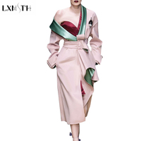 LXMSTH Runway Trench Coat Women 2018 Spring Antumn Color Patchwork Long Trench Female Slim Belt Cardigan New Fashion Overcoat