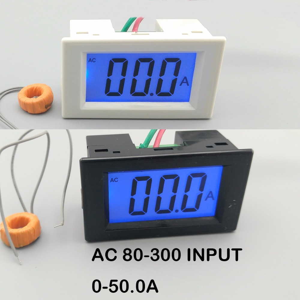 LCD display white and black ampere meter Ammeter range AC 0-50.0A Panel Monitor blue backlight 80-300V Inpute
