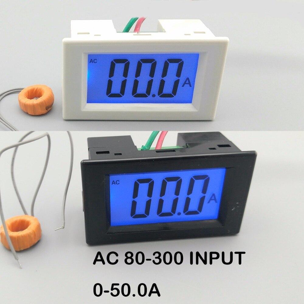 LCD display white and black ampere meter Ammeter range AC 0-50.0A Panel Monitor blue backlight 80-300V Inpute zhk displej displej belyj i chernyj ampermetr diapazon ac 0 50 0a panel monitory goluboj podsvetkoj 80 300 v inpute