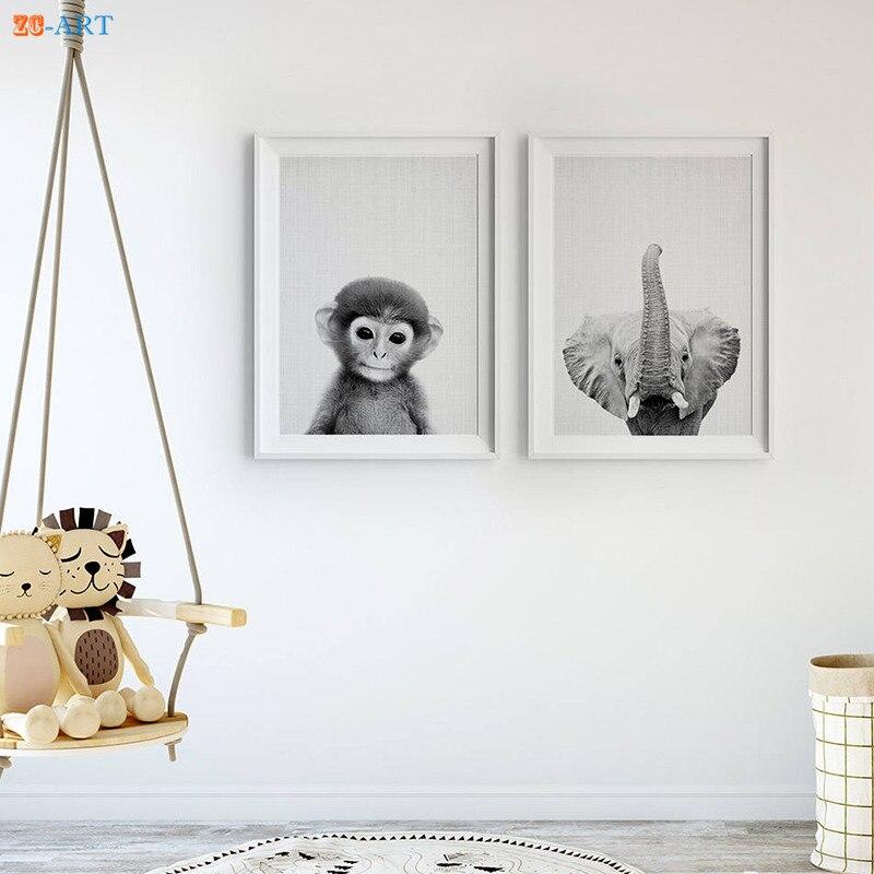 Baby Monkey Elephant Prints Black And
