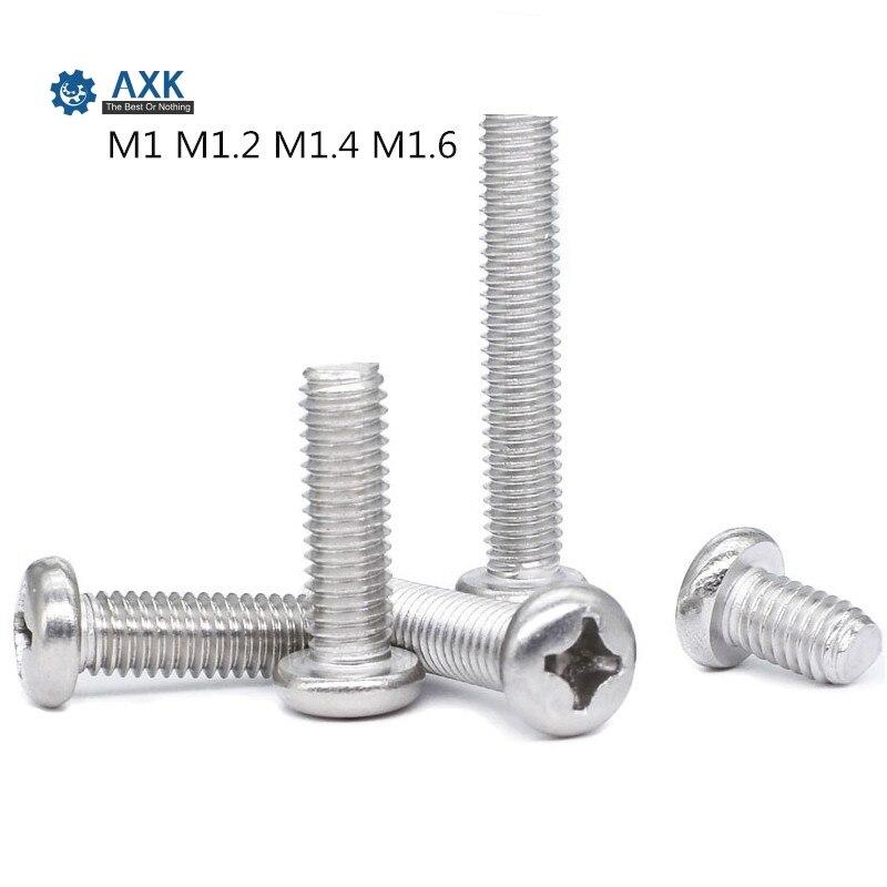 100Pcs M1 M1.2 M1.6 M1.4 ISO7045 DIN7985 GB818 304 Stainless Steel Cross Recessed Pan Head PM Screws Phillips Screws