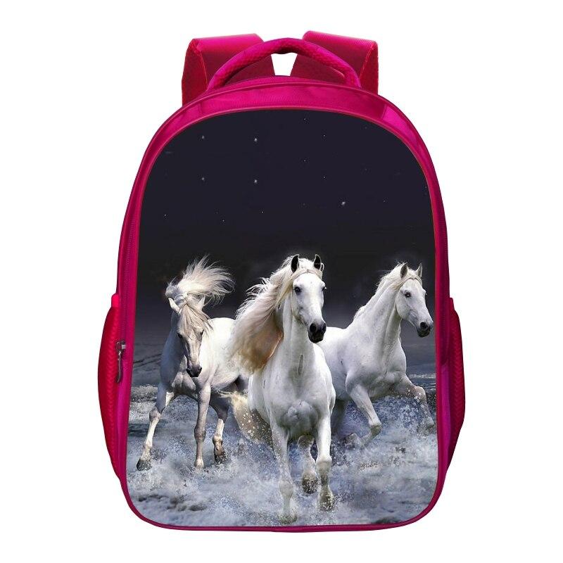 Cute printing horse animal women's bag Children travel backpack girls school bags for baby bookbag for student bags for kids 009