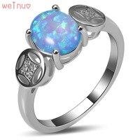 Weinuo Blue Fire Opal Biały Kryształ Pierścień 925 Sterling Silver Top Quality Fancy Biżuteria Wedding Ring Rozmiar 5 6 7 8 9 10 11 A418