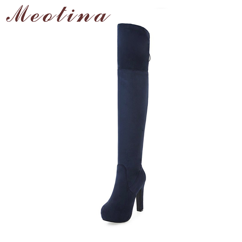 Meotina Women Stretch Thigh High Boots Winter Over The Knee Boots Platform High Heel Boots Round Toe Female Shoes botas mujer