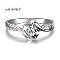 ANI 18K White Gold (AU750) Women Wedding Ring 0.3 CT Certified I/SI Natural Diamond Promise Ring for Lover Fine Jewelry Design