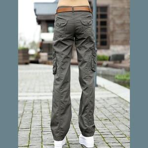 Image 5 - Женские брюки 2020, женские тренировочные хлопковые брюки карго в стиле милитари, женские прямые брюки с несколькими карманами