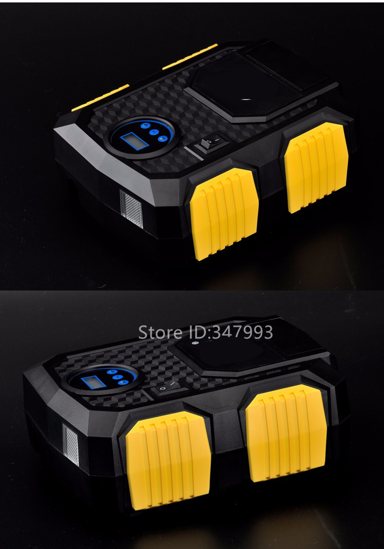 Купить с кэшбэком Pre-set Digital Display Auto Car Tire Inflator 12V Electric Car Air Compressor Pump LED Light Digital Inflatable Pump