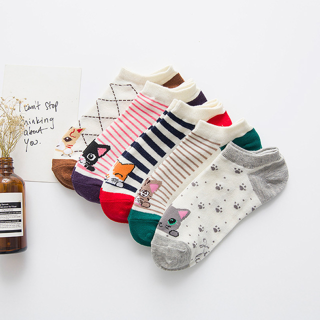 5 Pairs/Lot Casual Funny Socks Cute Casual Cotton Cat Striped Short Ankle Sock Soft Boat Socks Accessories For Women Girl
