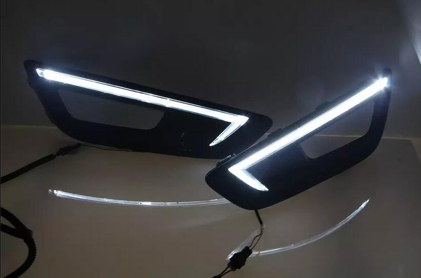 9c12a5c92 الصمام النهار تشغيل أضواء مع مصباح الضباب غطاء ل فورد فوكس 2015-2017