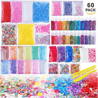 Slime Supplies Kit,60 Packs Slime Making Kids Toys Foam Ball Granules Flat Beads Gold Powder Candy Paper Polymer Clay Set