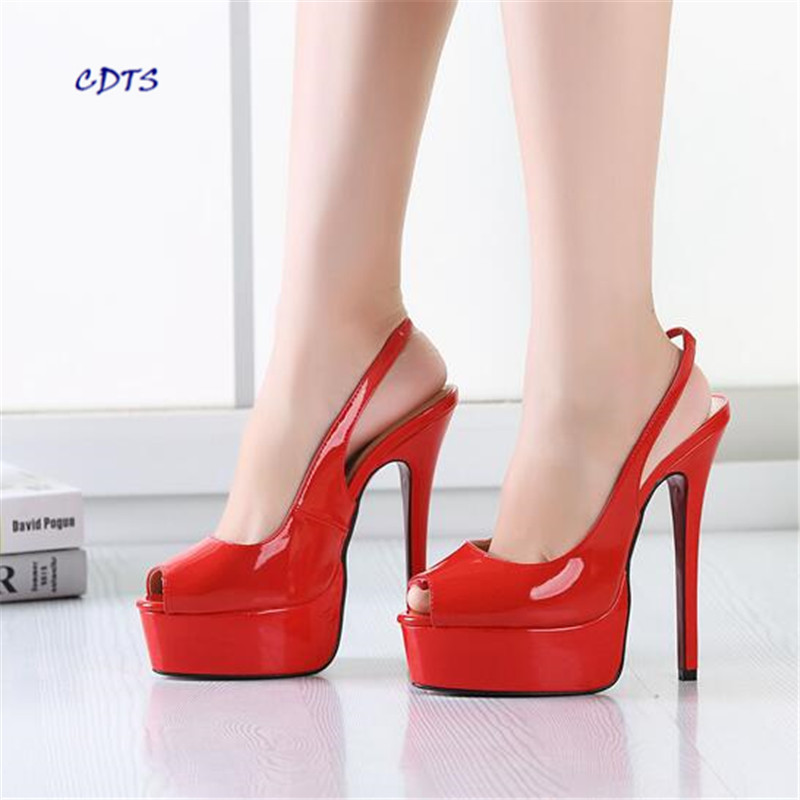ФОТО Crossdresser Plus:40-45 46 47 48 Zapatos Mujer Summer  Stiletto Platform Sandals 16cm Thin High Heels Peep toe shoes woman pumps