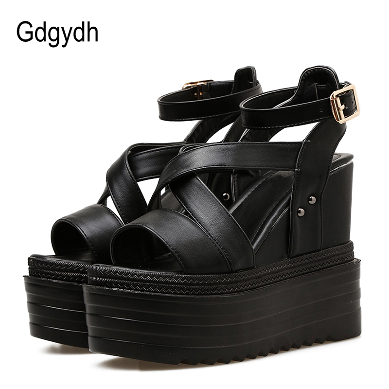 Gdgydh 2018 New Fashion Buckle Black Women Sandals Ankle Strap Peep Toe Wedges Sandals High Heels Platform Ladies Summer Shoes sexy open toe cross strap platform high heels sandals fashion ankle strap wedges gladiator sandals ladies summer wedges shoes