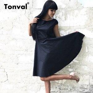 Image 3 - فستان أصفر عتيق من Tonval بأكمام قصيرة للنساء لصيف 2020 فساتين كلاسيكية من القطن بولكا دوت روكابيلي