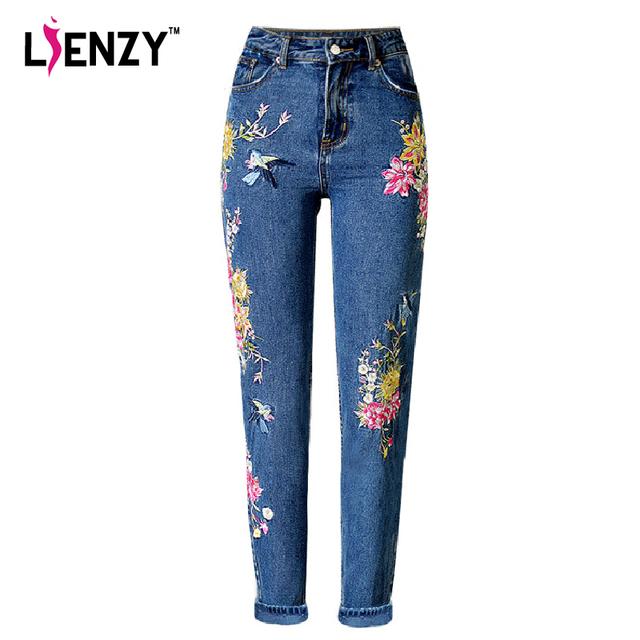 LIENZY BF Mulheres da American Apparel Calça Jeans de Cintura Alta Floral Pássaro 3D bordados Senhoras de Cintura Alta Jeans Reta Calças Jeans Bottoms
