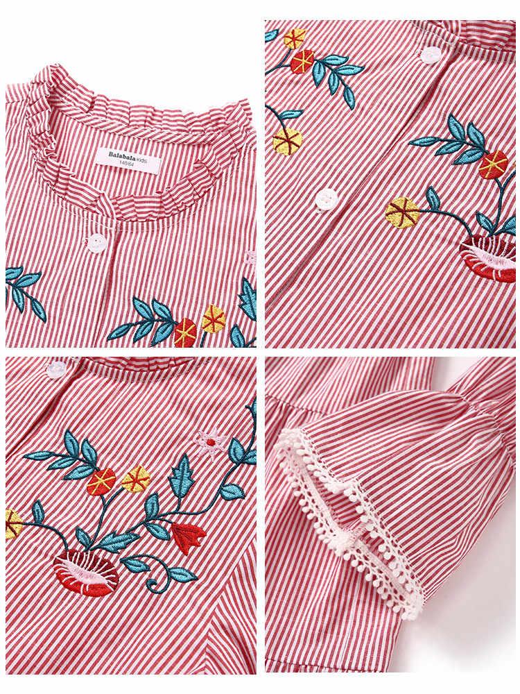 Balabala Mädchen Gestreiften Hemd Kleid Flare Hülse Kleider mit Bogen Krawatte an der Taille Kinder Teenager Mädchen Frühling Herbst Kleider