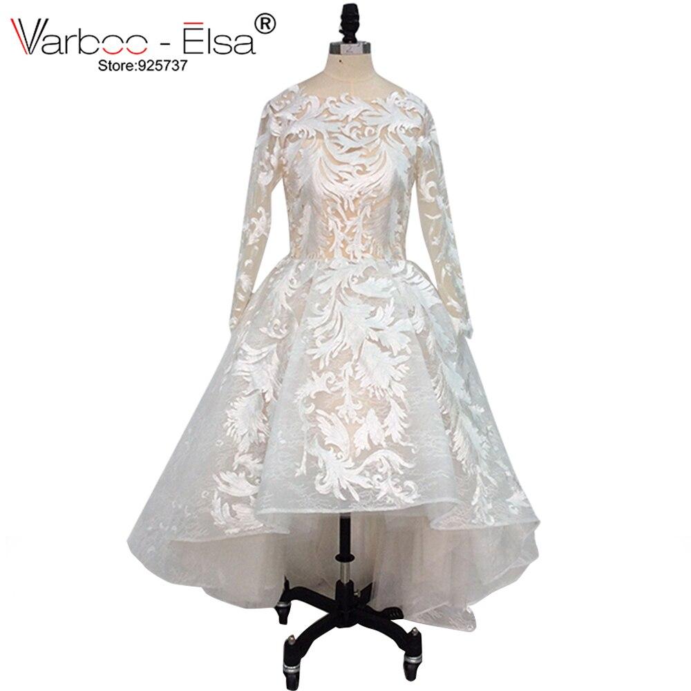 VARBOO_ELSA White Organza High Low Evening Dress Elegant Scoop Neck ...