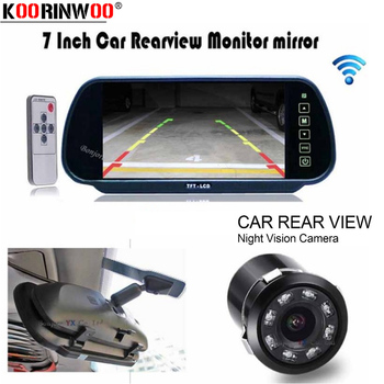 Koorinwoo CCD Parking Car Rear view camera with HD 7 Monitor Mirror Video Player  8 Ir Lights Reversing cam Car detector System