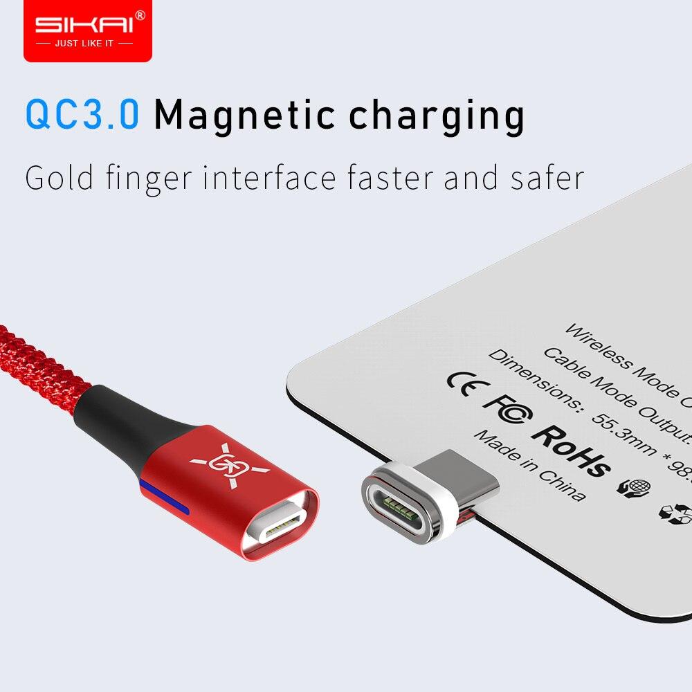 Sikai qi 3.0 receptor de carregador sem fio tipo-c cabo adaptador magnético almofada bobina para xiao mi 9 se módulo sem fio carregador rápido