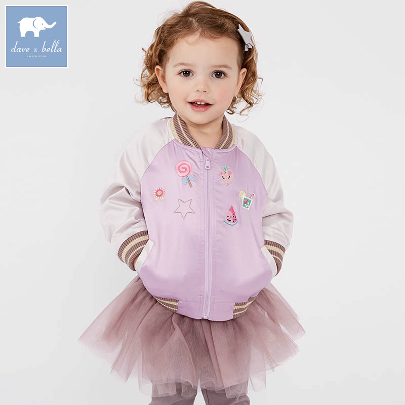 DBM7504 dave bella spring infant baby girl fashion print coats children cute top kids high quality clothes