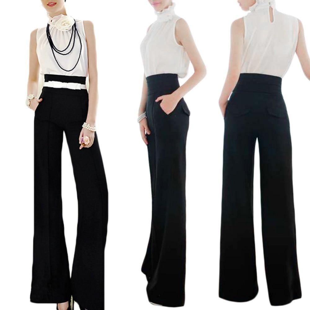 Préférence 2015 dames femmes Casual noir taille haute Slim Flare pantalon  FA24