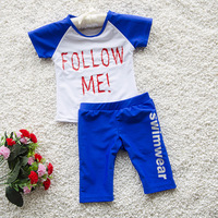 New Hot 2 6T Kids Swimsuit Quality Boys Swimwear Teenagers Two pieces Follow me Design Infant Bath Suit Children Beachwear