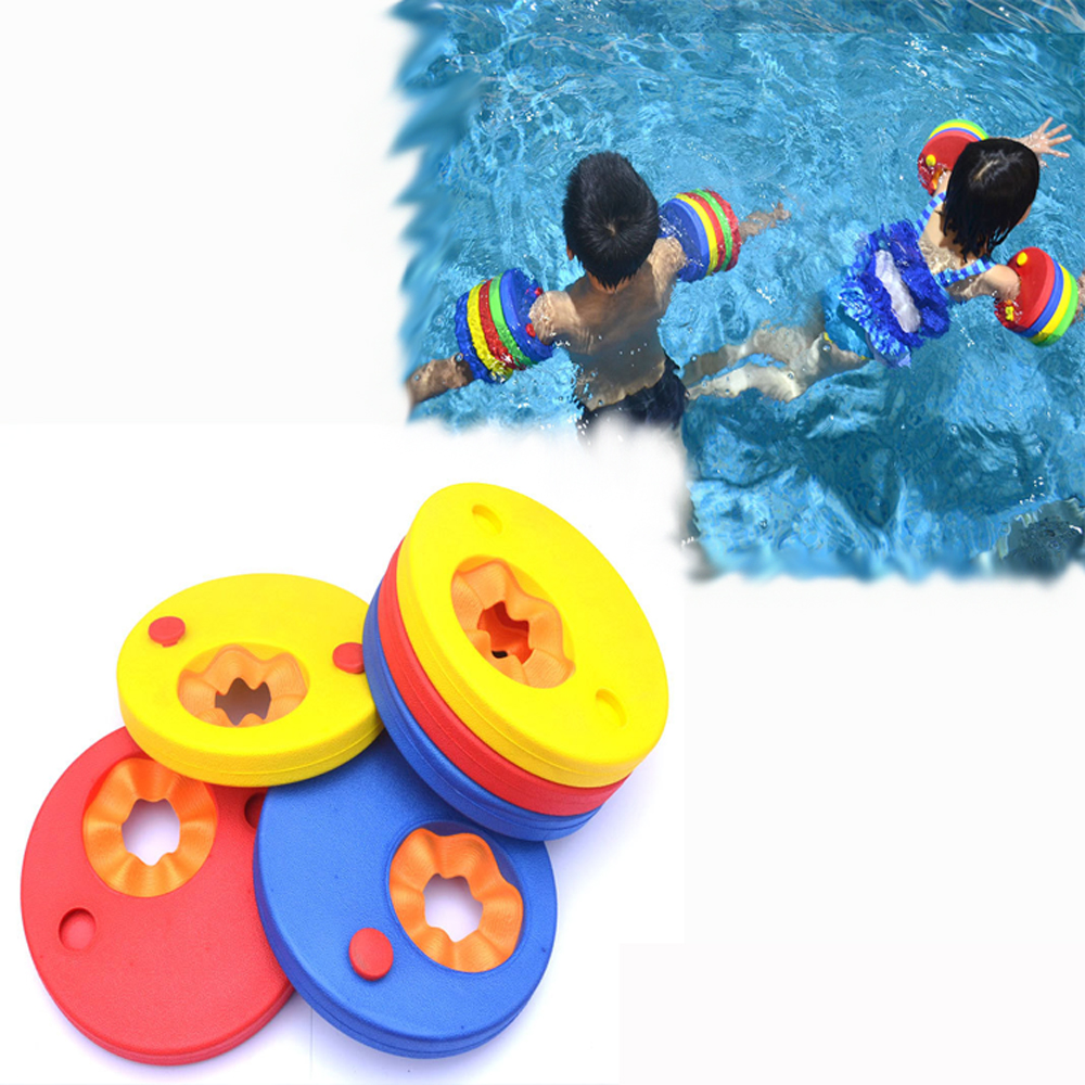 6PCs/ Pack EVA Foam Swim Discs Arm Bands Floating Sleeves Inflatable Pool Float Board Baby Swimming Exercises Circles Rings