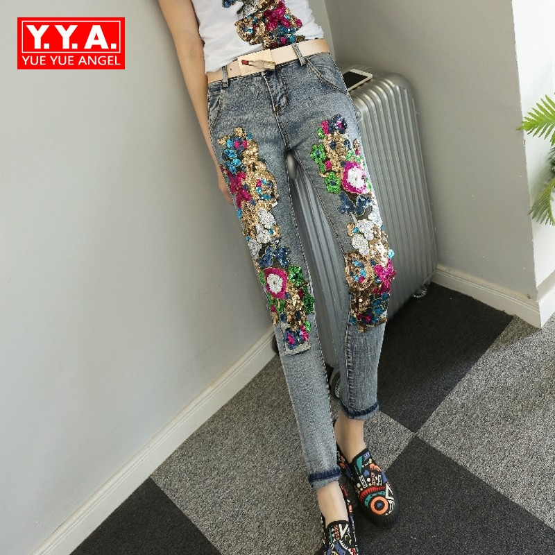 Newest 2017 Autumn Sequins Flower Embellished High Quality Gorgeous Chic Jeans Women Trousers Retro Bounce Hip Hop Pencil Pants 6 4 4m bounce house combo pool and slide used commercial bounce houses for sale
