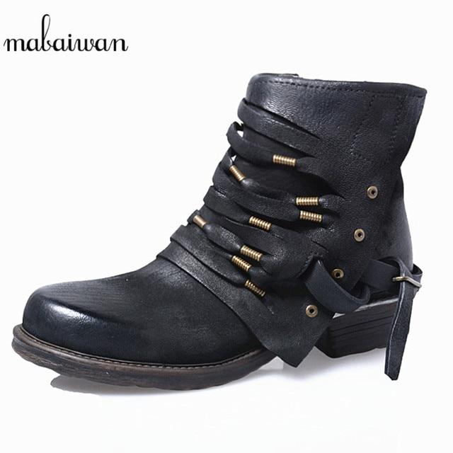d32c43a1dfe5 Mabaiwan Bretelles Décor Femmes Chaussures En Cuir Véritable Zipper  Cheville Bottes Appartements Chaussures Femme Cowboy Militaire