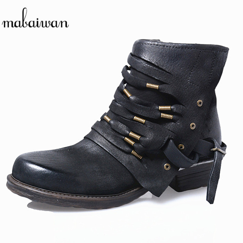 Mabaiwan Straps Decor Women Shoes Genuine Leather Zipper Ankle Boots Flats Shoes Woman Military Cowboy Botines Mujer Snow Boots