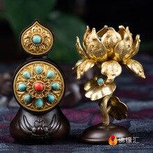 Tibetan Buddhist Dharma-vessel Pure Copper Inlaid Beads Exquisite Pattern Dermagor Torma Butter Sculpture Sacrificial Vassel