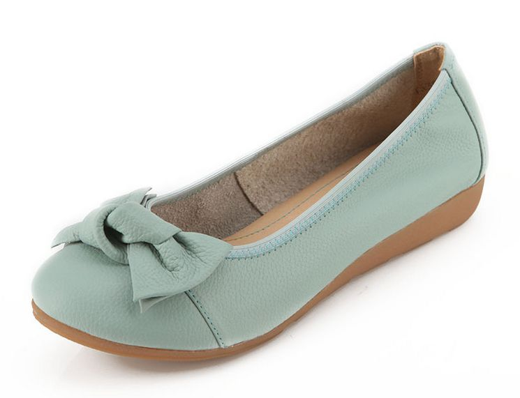 ФОТО Genuine Leather women's flats shoes for spring autumn DS209 soft leather and sole bow bowite classic comfort flats blue beige