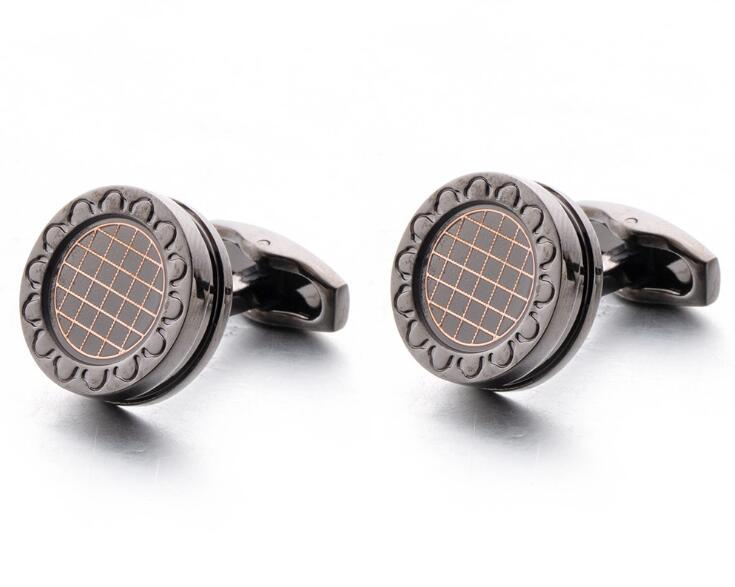 10pairs lot Gunblack Round Cufflinks With Grid Pattern Vintage Business Style Cuff Links Shirt Cuff Button