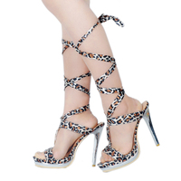Style Vintage Royal Court Lolita Boots Lace Up leopard printed Ribbon High Heels Princess Boots