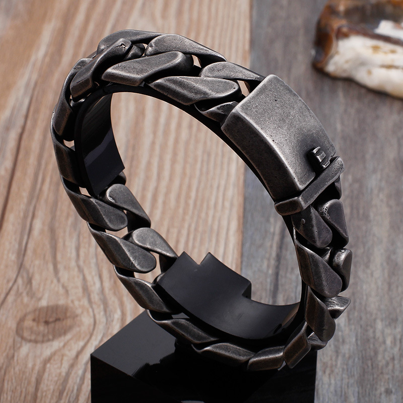 Fashion Men Punk Curb Chain Bracelets Retro Black Stainless Steel Wide Link Cuban Curb Chain Square Bracelets Jewelry