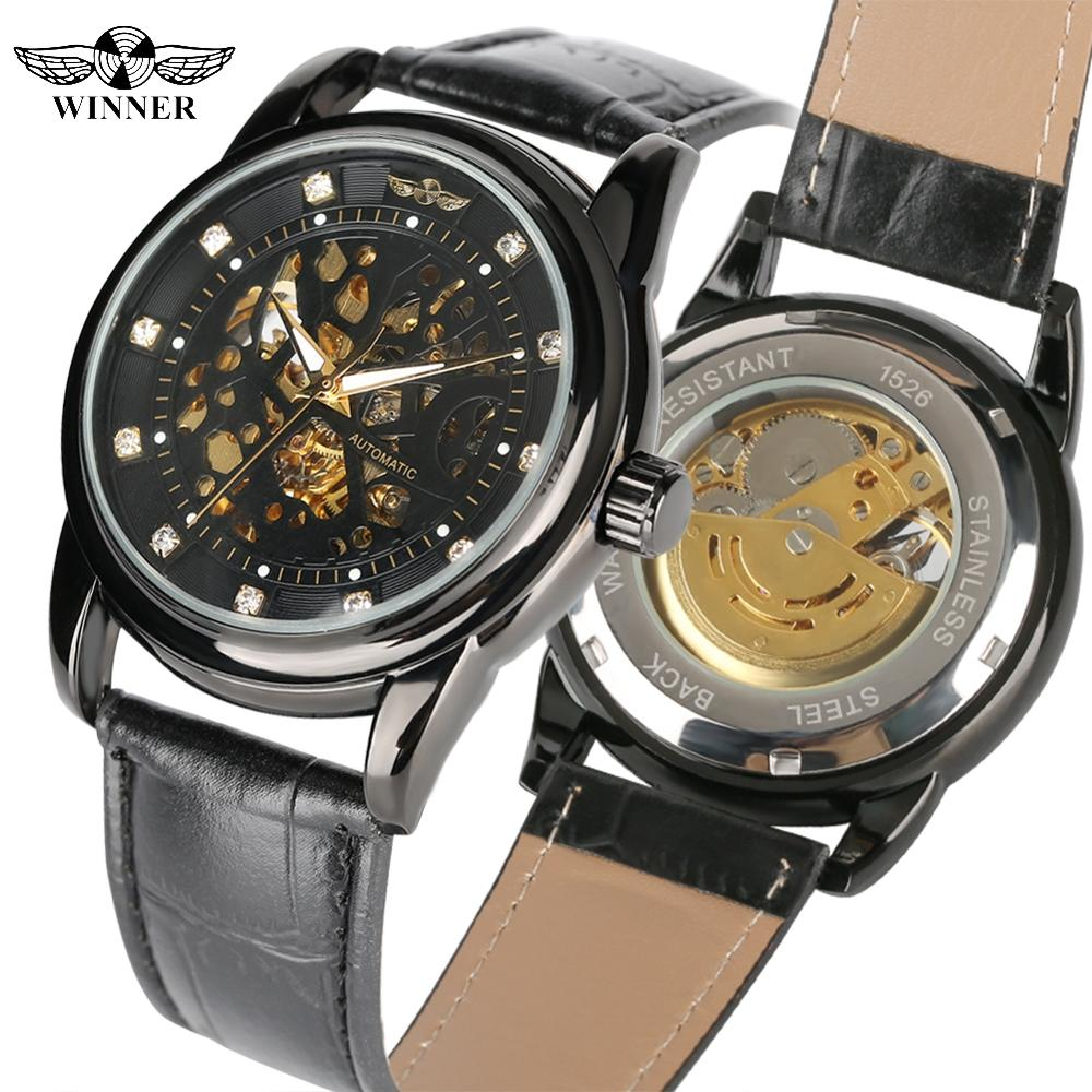 Luxury Business Men s Automatic Mechanical Watches Leather Band Mechanical Watch for Men Classic Skeleton Watch