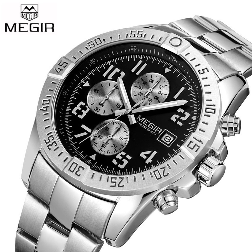 2017 New MEGIR Men's Chronograph Casual Watch Luxury Brand Quartz Wrist Watches Military Men Clock Male Waterproof Sport Watch megir sport mens watches top brand luxury male leather waterproof chronograph quartz military wrist watch men clock saat 2017