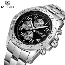 2017 Nueva MEGIR Cronógrafo Reloj Casual Luxury Brand Cuarzo de Los Hombres Relojes de Pulsera Militar de Los Hombres Reloj Masculino Impermeable Reloj Deportivo