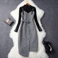 European High End Dresses 2017 New Fashion Designer Autumn Winter Dress Long Sleeve Corduroy Top And