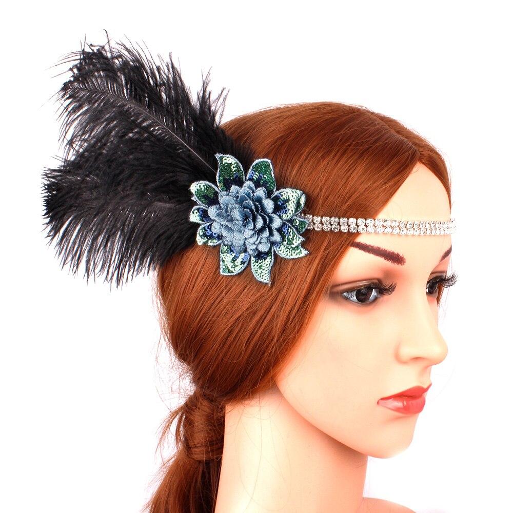 1920s Headpiece Feather Flower Flapper Headband Great Gatsby Vintage Women Headdress Dancing Evening Party Costume Accessories