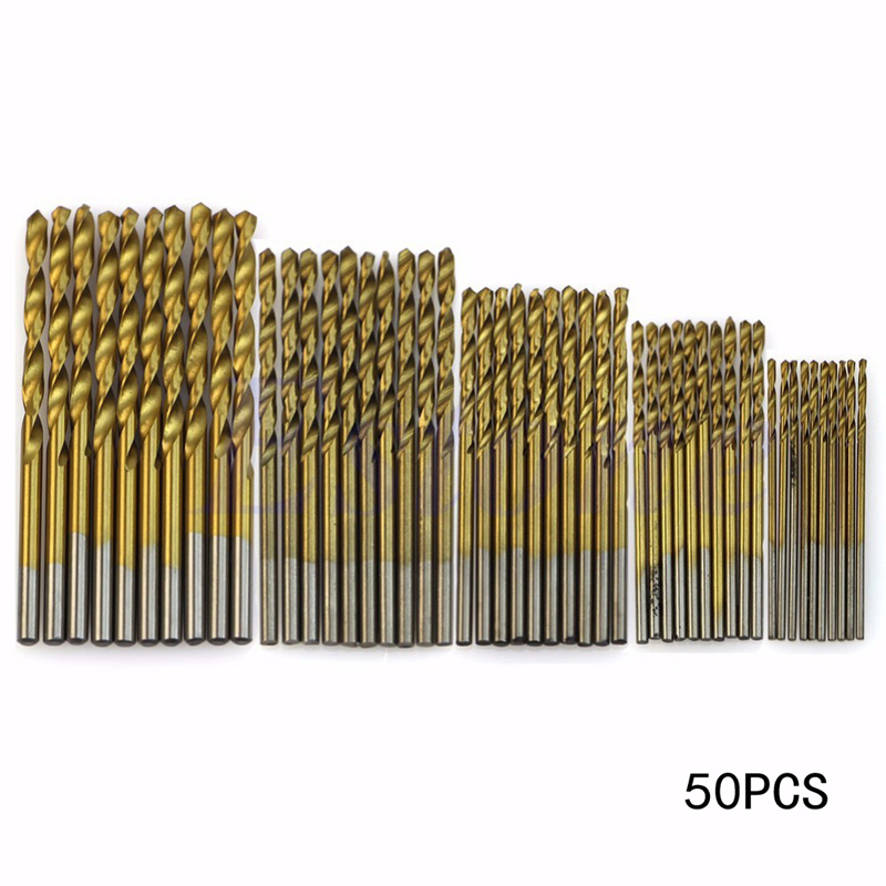 50Pcs HSS Twist Drill Bit Set Titanium Coated High Speed Steel Drill Bit Set Woodworking Wood Tool 1/1.5/2/2.5/3mm Power Tools 15 pieces titanium coated hss twist drill bit set with 1 4 hex shank for wood metal power tool 3 0 5 0mm black hemp screw drill
