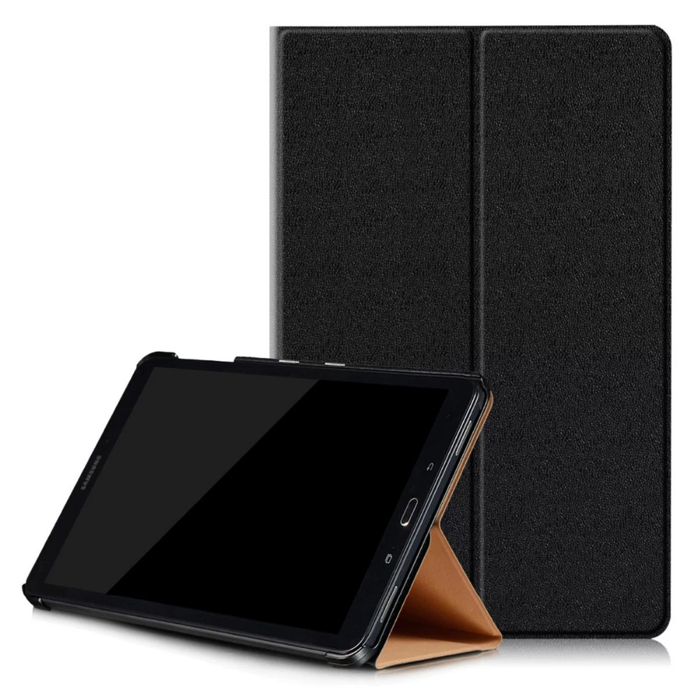 2017 New Fashion Gold Flip Wake up Sleep PU Leather Case for Samsung GALAXY Tab A A6 10.1 P580 P585 Smart Cover luxury folding flip smart pu leather case book cover for samsung galaxy tab s 8 4 t700 t705 sleep wake function screen film pen