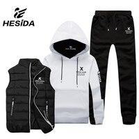 Men Sport Suit Set Cotton Brand Vest 3 Winter Warm Hoodie Sportswear Sweatshirt Clothes Male Coat