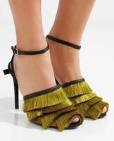 Drop Shipping Brand Mancuello Women Fashion Army Green Red Tassel Layer Peep Toe Thin Heels High