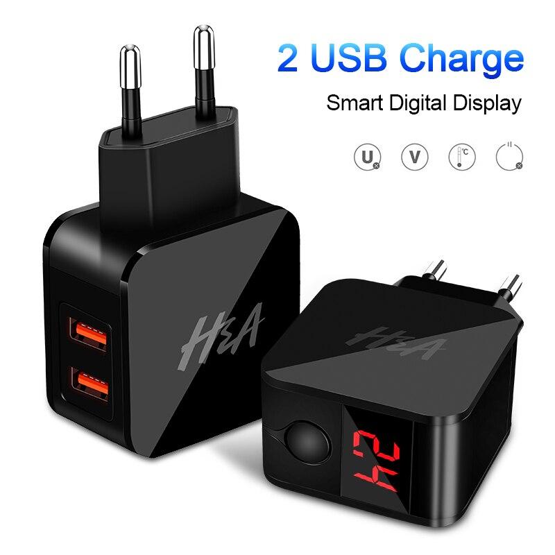 H & A Universal EU Stecker USB Ladegerät 2 Port Led-anzeige Telefon Ladegerät Für iPhone Reise Wand Tragbare Smart ladegerät Für Samsung S9